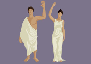Ancient man and woman standing side by side, wearing togas, wave in greeting.